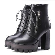 womens ladies platform retro block high heels lace-up ankle boots shoes size 9.5
