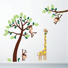 Monkey & Giraffe Jungle Nursery Wall Art Stickers, Wall Decals, Wall Graphics