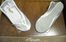 Capezio White Satin Suede Sole Ballet Shoes Wedding flower girl Bridal ch/Ad