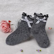 NEUF filles Froufrou à pois chausettes blanc, gris, noir 1-4 ans