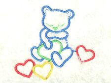Bug in Rug  Brushed Fleece Baby Blanket White with Teddy Bear & Hearts