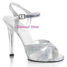 Sexy SANDALI GLITTER tacco 11,5 dal 35 al 41 ARGENTO/TRASPARENTE scarpe Glamour