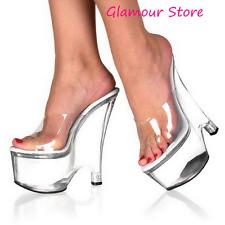 Sexy SANDALI ZEPPA tacco 16,5 dal 35 al 42 TRASPARENTE sabot scarpe glamour chic