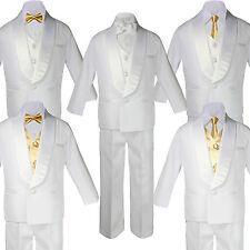 5-7pc Boy White Shawl Lapel Party Suits Tuxedo MUSTARD Satin Bow Necktie Vest