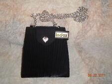 INDEX BLACK PLEATED PURSE BAG W/ HEART & STONES ON FLAP