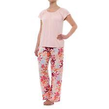Oscar de la Renta Pink 2 Pc Pajama Set Sz M or L Wildflower Short Slv Pink Multi