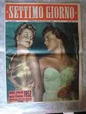 RIVISTA SETTIMO GIORNO N. 40/1952 MISS ITALIA CATHERINE SAUVAGE G. CARNOVALI