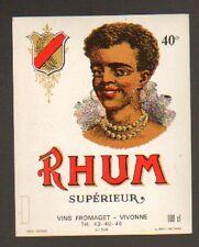 """VIVONNE (86) ETIQUETTE de RHUM Superieur """"Ets. FROMAGET"""""""