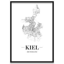 JUNIWORDS Stadtposter, Kiel, Weiß, Kunstdruck Plan Map