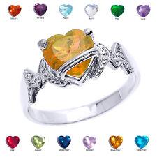 "14k White Gold Heart CZ Birthstone ""MOM"" Ring"