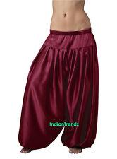 Maroon Satin Harem Yoga Pant Belly Dance Pantaloons Bombachos Aladdin Halloween