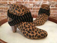 Matt Bernson Leopard Suede Rhinestone Strap Ankle Boots NEW