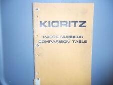 Kioritz Parts Catalogue Parts Number Comparison Table