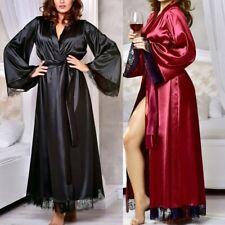 Women Stylish Silk Kimono Dressing Gown Bath Robe Babydoll Lingerie Nightdress
