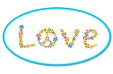 Love Flower Design Oval Cute Vinyl Sticker - SELECT SIZE