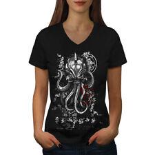 Evil Octopus Mask Women V-Neck T-shirt NEW | Wellcoda