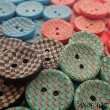 20mm Botones de madera natural CUADRICULADO grabado en el Retro Elegante Diseño