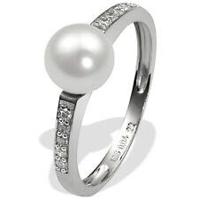 Goldmaid Ring 585er Weissgold Süßwasserperle Perle Diamanten Diamonds 0,04 ct