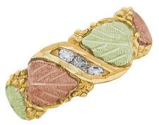 Dakota Black Hills Gold w/ 3 Diamonds .02 ct  ea Ring #KRD 544  Select Your Size