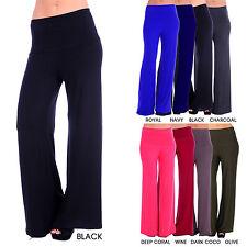 Women's Solid Fold Waist wide Leg Palazzo Pants (Size: S-3X)