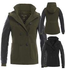 NUOVO Donna Parka imbottito maniche in PU inverno cappotto di lana donna