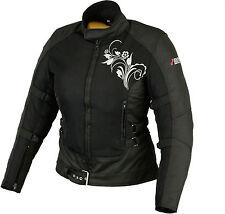 Damen Motorrad Sommer Jacke Motorradjacke Schwarz Motorrad Protektoren Jacke Neu