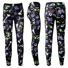 Ladies Spooky Halloween Skulls Ghosts Eyeballs Spiders Web Leggings Size 8-22