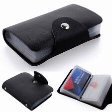 Pu cuir souple carte de crédit titulaire wallet case pour homme femme Noir