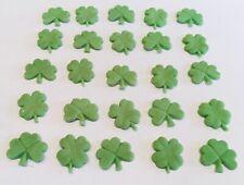 25 edible Shamrocks lucky clovers St Patrick's Day Irish icing cake decorations