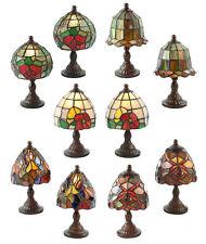 PAIR/TIFFANY STYLE MINI TABLE LAMPS 22CM GLASS SHADES 12CM FREE BULB