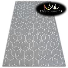 MODERN NATURAL SISAL RUG 'FLAT' PRACTICAL 3d cube grey Carpet FlatWeave