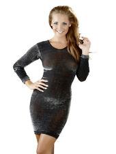 Mini abito nero trasparente glitterato argento Sexy vestito manica lunga