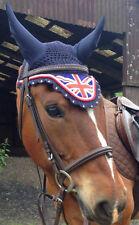 Jack Union Flag Horse Handmade Ear Bonnet/Net/Hat Crochet Fly veil  Diamante GB