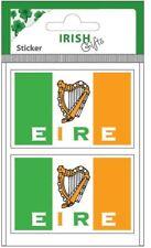 Irish Car Bumper Window Sticker Decal Vinyl Two Ireland Flags Eire Harp