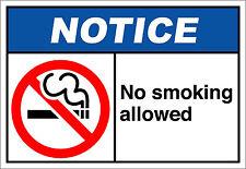 No Smoking Allowed Notice OSHA / ANSI Aluminum METAL Sign