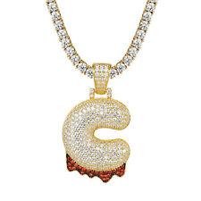 Custom Bubble Blood Drip Letter C Pendant 14k Gold Tone 925 Silver Tennis Chain