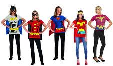 Sexy Superhero Costume Cape T-Shirt Womens Wonder Woman Batgirl Robin Supergirl