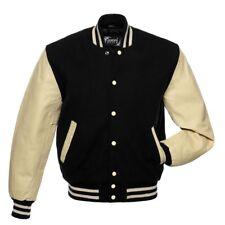 Black Wool Varsity Jacket Cream Real Leather Arms Sleeves Letterman Bomber