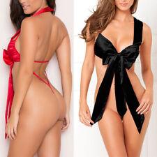 Size Plus Knot Piece Lingerie Sleepwear One Sexy US Bodysuit Satin Bow Women Red