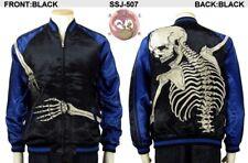 Sukajan Holding Skeleton Skull Japan Embroider Souvenir Jacket Hanatabi Yakuza