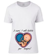 T-SHIRT DONNA PREMAMAN 2 cuori 1 solo battito per sempre MAGLIETTA x gravidanza