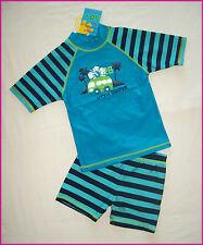 2 Pc BOYS RASHI Sz 3 4 5 6 7 8  Swimwear BLUE TOGS Rash Top & Shorts Bathers NEW