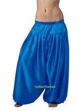 Dodger Blue Satin Harem Pant Belly Dance Pantaloons Bombachos Aladdin Halloween