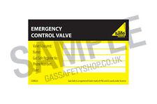 Gas Safe Emergency Control Valve Label