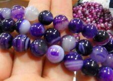 "6-10mm purple Stripe Agate Onyx Gem Round Loose Bead 15"""