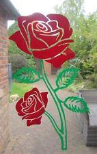 Fiore rosso e verde Adesivo. ROSE PER MURO, VERANDA porta, finestre, docce 281 mm