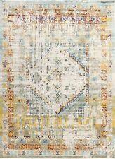 Distressed Design Geometric Heat-Set Vintage Style Area Rug Oriental Carpet