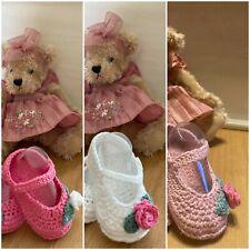 Handmade Crochet Knitted  Newborn Baby Girls Booties  Mary Jane Shoes 3 Sizes
