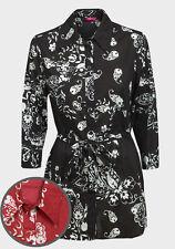 WOMANS plateau Lunga Camicia Aderente T Camicia Nero Rosso 8 10 12 14 16 18 20