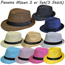 3 Stück Set Panamahut Strohhut Trilby Hut Gartenhut Hutband Sommerhut Strandhut